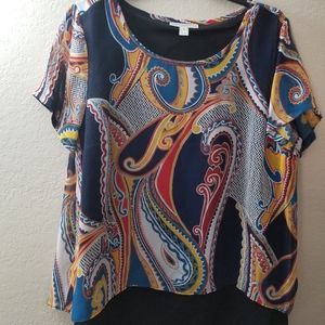 Dana Buchman Blue/Red Blouse